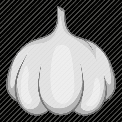 allium, bulb, cartoon, food, garlic, line, sativum icon