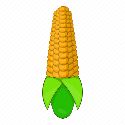 cartoon, cob, corn, food, vegetarian, white, yellow icon
