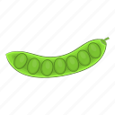 cartoon, food, green, pea, pod, vegetable, vegetarian icon