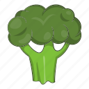broccoli, cabbage, cartoon, food, fresh, green, organic icon