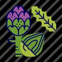 artichoke, food, greens, raw food, vegetables, veggie icon