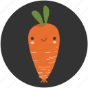 carrot, cartoon, clean food, ingredient, vegetable, vegetarian, yummy icon