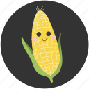 cartoon, corn, delicious, food, ingredient, vegetable, vegetarian icon
