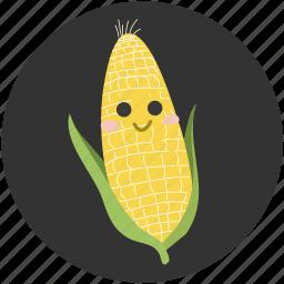 cartoon, corn, delicious, food, ingredient, vegetable, vegetarian icon
