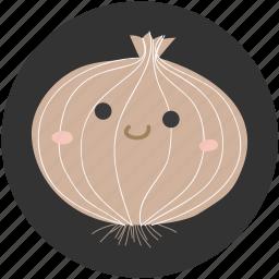 cartoon, food, ingredient, onion, vegetable, vegetarian icon