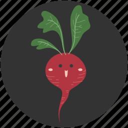 breakfast, bulb, cartoon, food, radish, salad, vegetable icon