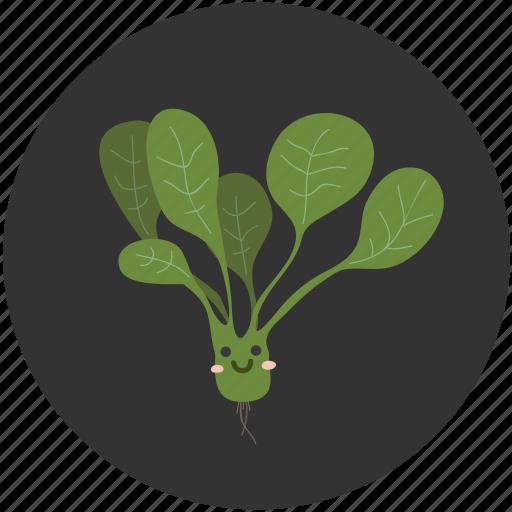 cartoon, food, healthy, ingredient, salad, spinach, vegetable icon