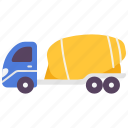 building, cement, construction, truck, vehicle, work icon