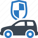auto insurance, car, protection, shield icon