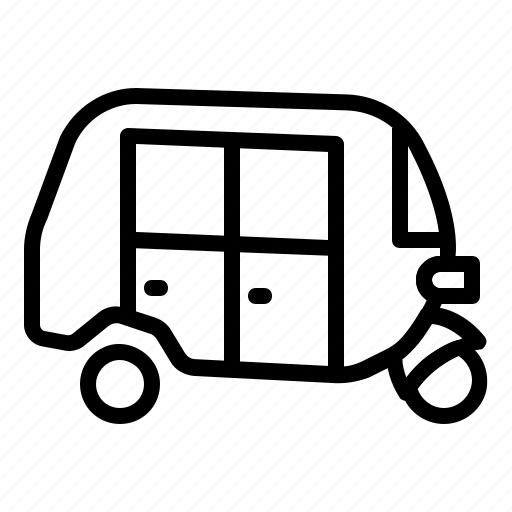bajaj, transport, tuktuk, vehicles icon