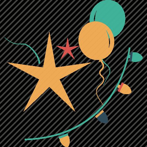 baloons, celebration, decor, lighting, starts icon