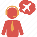 agent, air, csr, fly, tele, telecommunication, travel icon