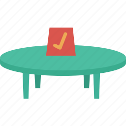 book, booking, check, round, table, venue icon