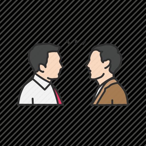 conversation, discussion, men talking, talking icon