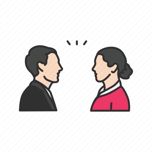 conversation, discussion, man woman talking, talking icon