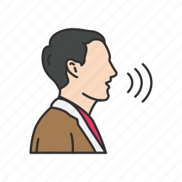 man speaking, sound waves, talking, volume icon