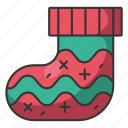 holiday, december, santa, winter, sock, cold, christmas icon
