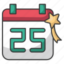 holiday, december, santa, winter, calendar, date, christmas icon