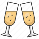 holiday, december, winter, champagne, drink, toast, christmas icon