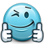 emoticon, like, liked, smiley, smiley face, support, supportive, thumb, thumbs up, wink icon