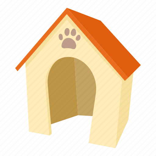 Cartoon, dog, dog house, door, home, kennel, pet icon ...