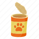 can, cartoon, dog, dog can, food, meal, pet icon