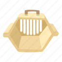 accessory, animal, bag, box, cage, carrying animals, cartoon icon