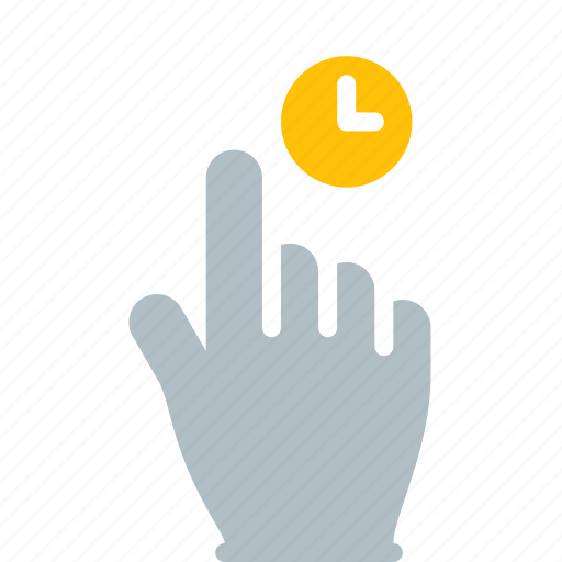 clock, finger, gesture, hand, hold, tap, touch icon