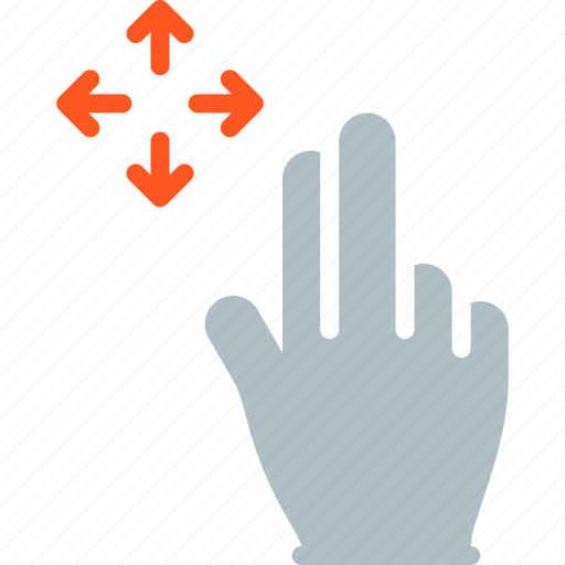 finger, gesture, hand, move, touch icon