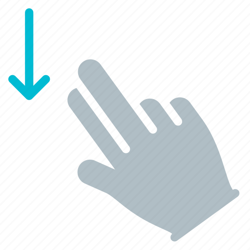 Down, finger, gesture, hand, swipe, touch icon - Download on Iconfinder