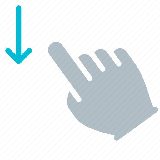 down, finger, gesture, hand, swipe, touch icon