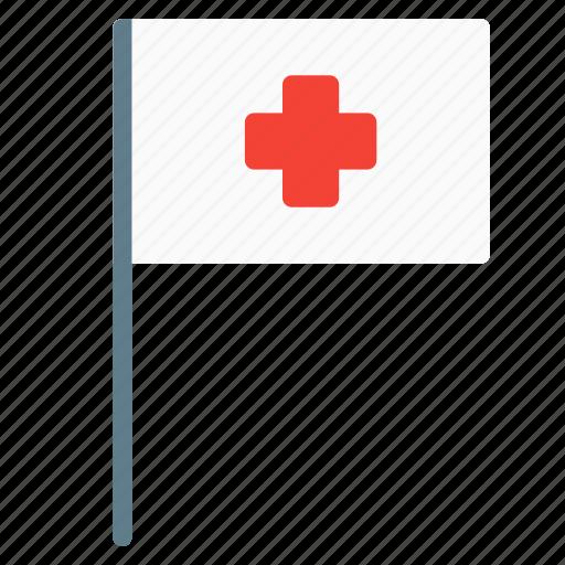 cross, flag, health, hospital, medical icon