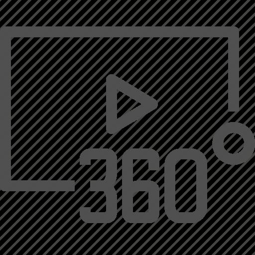 360, format, media, movie, multimedia, panoramic, video icon
