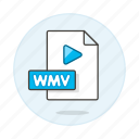 button, files, format, play, video, wmv icon