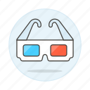 3d, blue, cinema, glasses, movies, red, theater, video