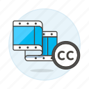 cc, video, creative, commons, editing, film icon