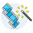 editing, film, magic, video, wand icon
