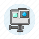 cam, camera, gopro, holder, stand, video icon