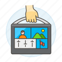 3, briefcase, editing, editor, media, portable, producer, video icon