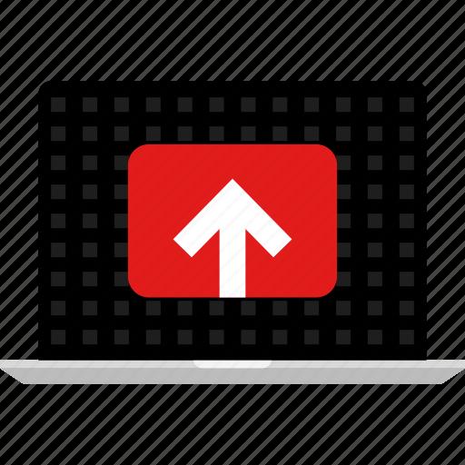 arrow, computer, online, tube, up, web icon