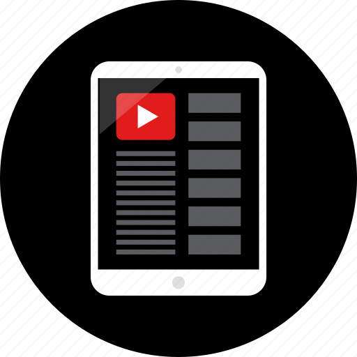 ipad, list, media, play, video, youutbe icon