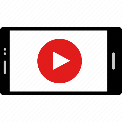 cell, online, phone, play, video, web, youtube icon