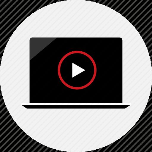 laptop, mac, pc, play, playlist, video icon