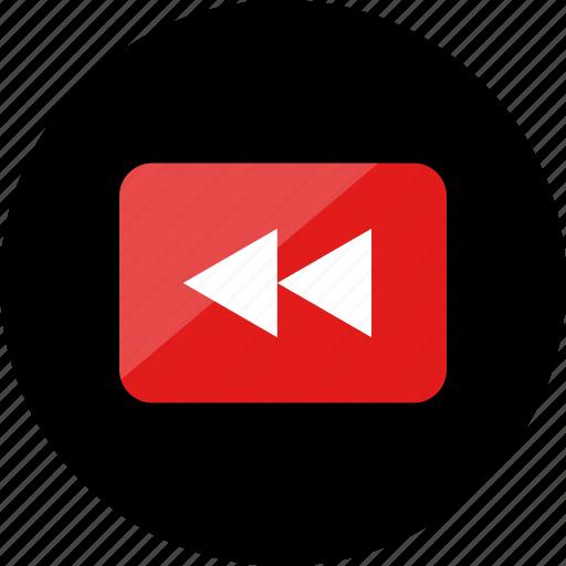 back, reverse, rewind, youtube icon