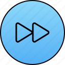 audio, fast, forward, media, next, player, video icon