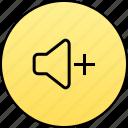 audio, increase, music, plus, sound, volume, volume plus icon