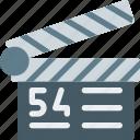 cinema, clapperboard, film-making, next take, scene, shot, technology icon
