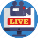 conference, streaming, live, camera, video icon
