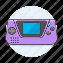1, consoles, game, gear, portable, purple, video icon