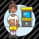 arcade, fashioned, female, game, gamer, old, retro, video, vintage icon